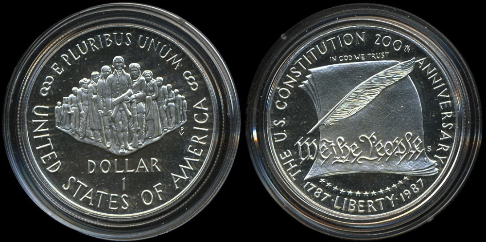 commemorative coins 1 dollar constitution anniversary